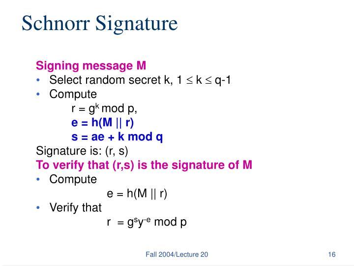 Schnorr Signature