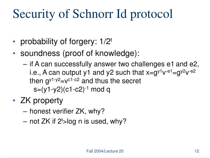 Security of Schnorr Id protocol