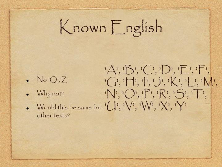 Known English