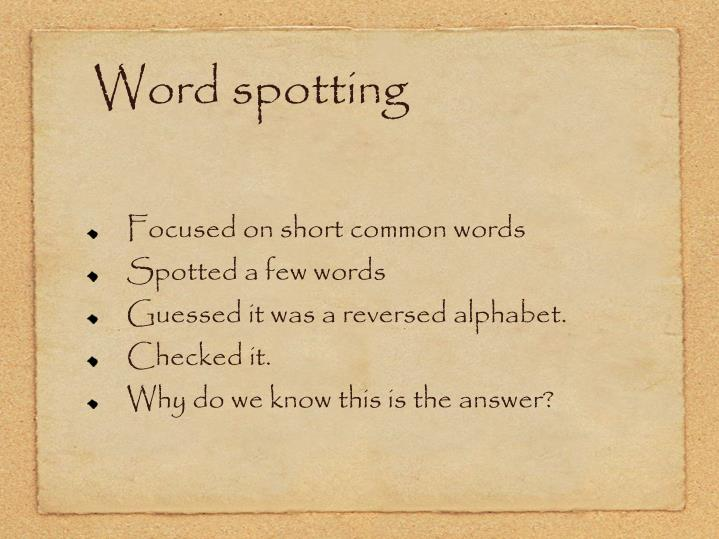 Word spotting