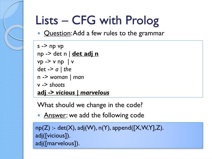 Lists – CFG with Prolog