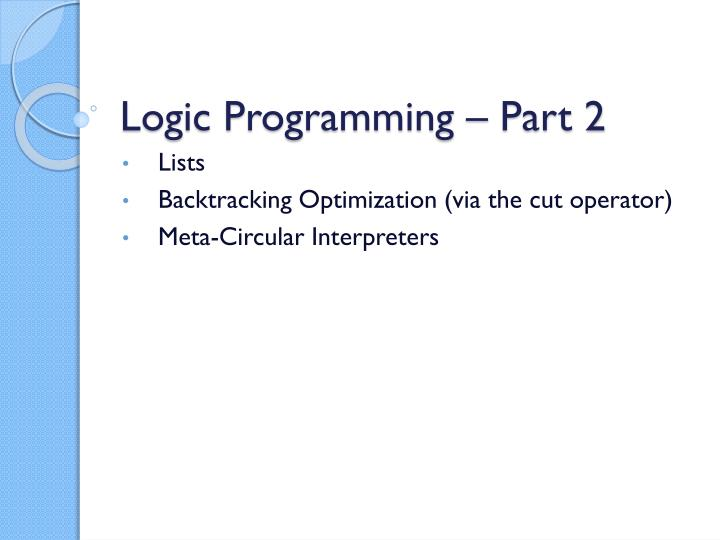 Logic programming part 2