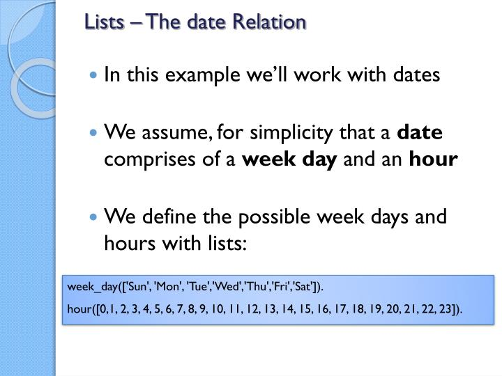 Lists – The date Relation
