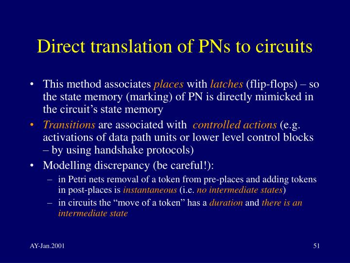 Direct translation of PNs to circuits