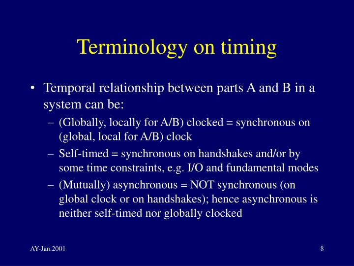 Terminology on timing
