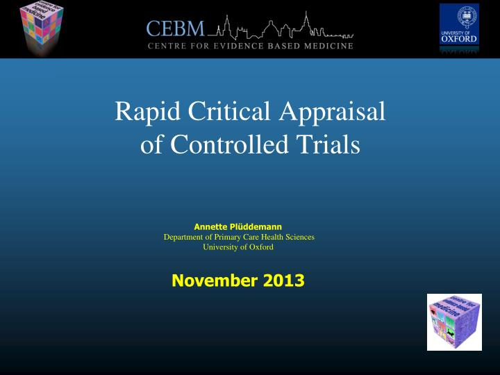 rapid critical appraisal of controlled trials n.