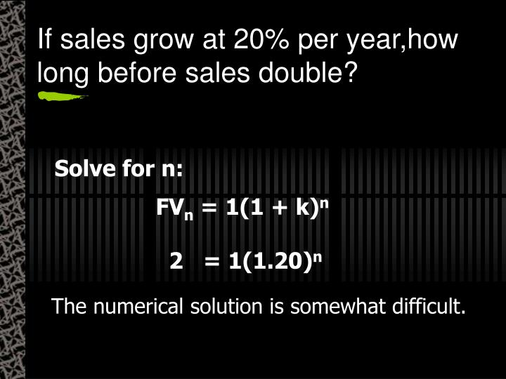 If sales grow at 20% per year,how long before sales double?