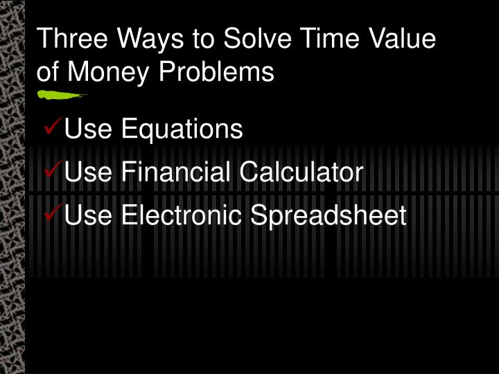 Three Ways to Solve Time Value of Money Problems