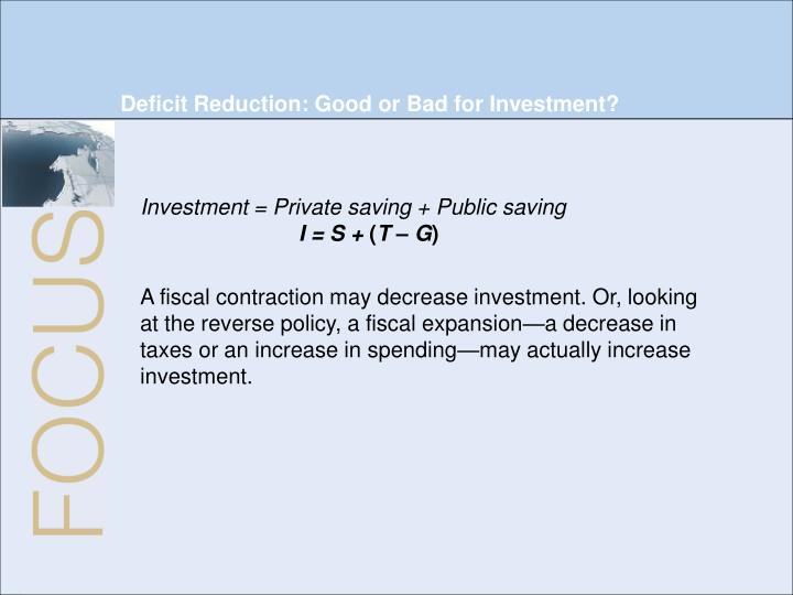 Deficit Reduction: Good or Bad for Investment?