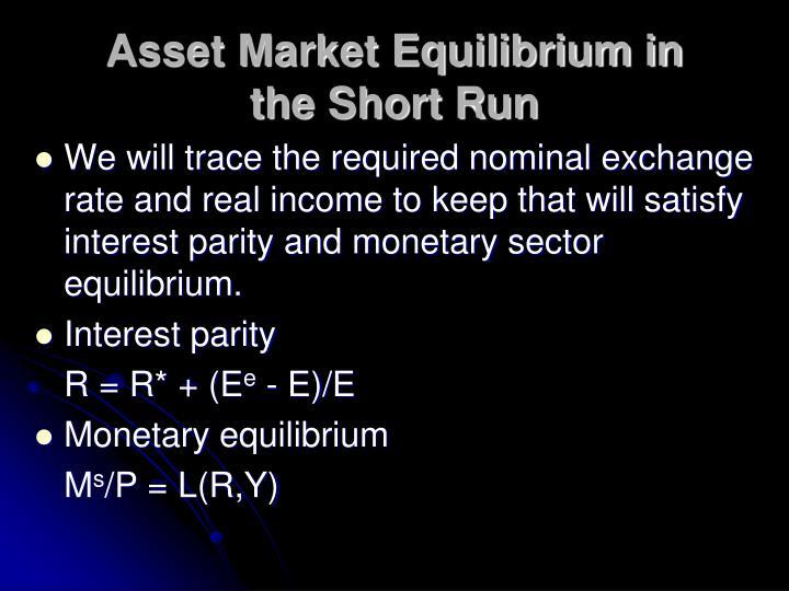 Asset Market Equilibrium in the Short Run