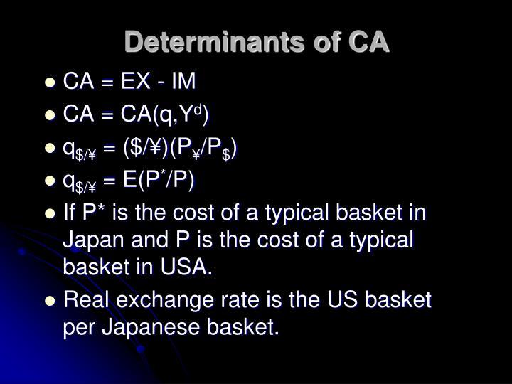 Determinants of CA