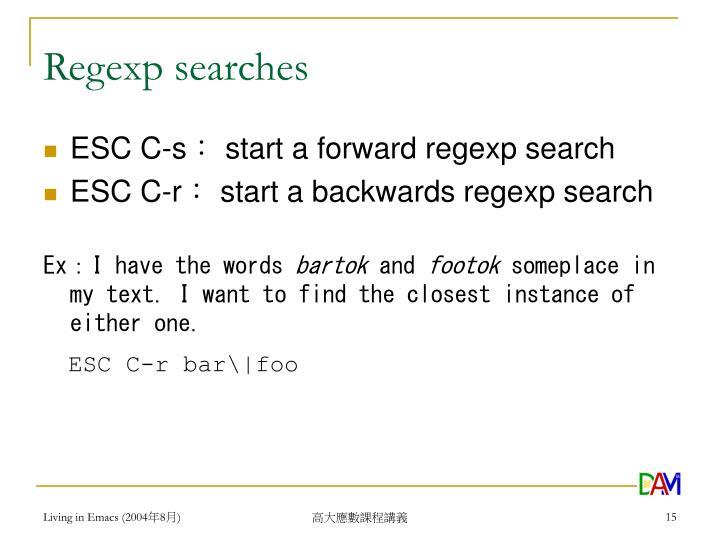 Regexp searches