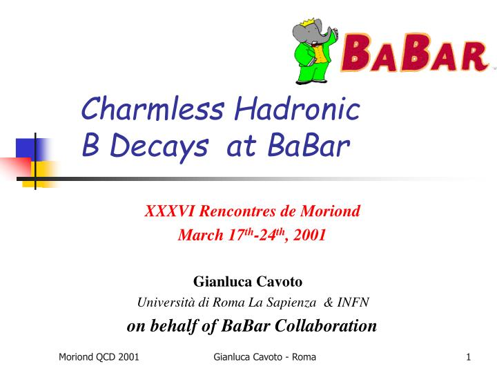 Charmless hadronic b decays at babar