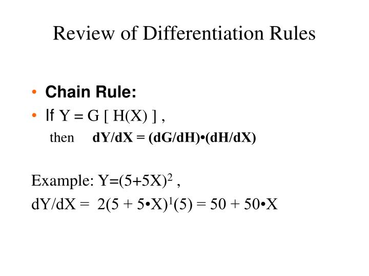 Review of Differentiation Rules