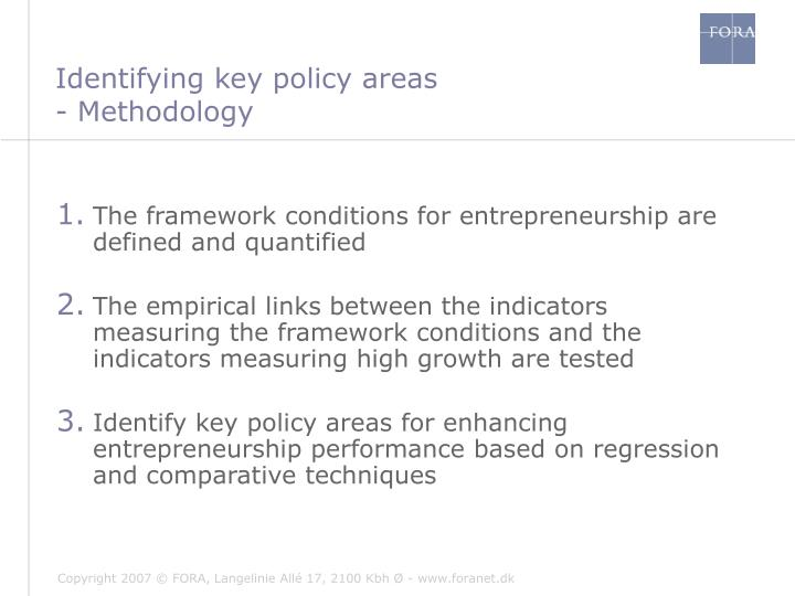 Identifying key policy areas
