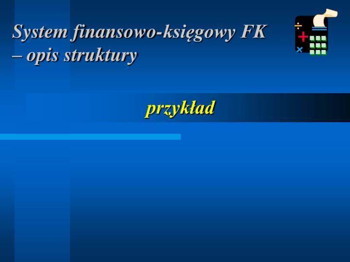System finansowo-księgowy FK – opis struktury