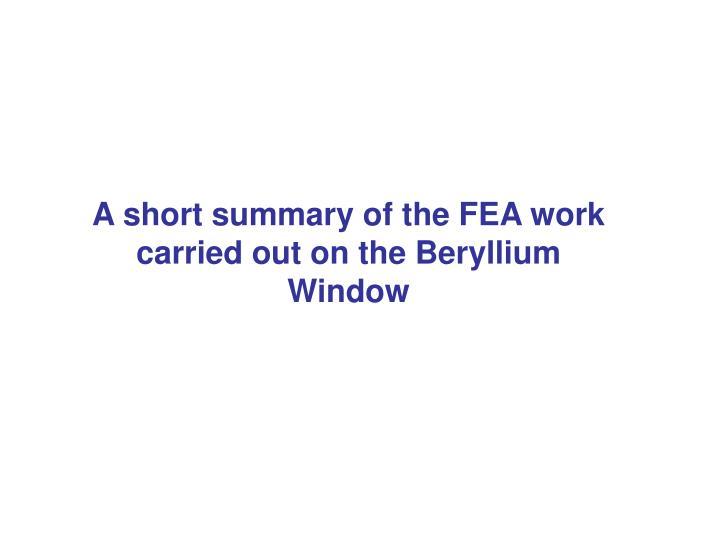 A short summary of the FEA work