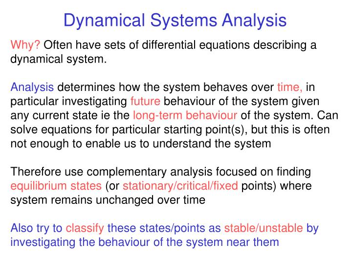 Dynamical Systems Analysis