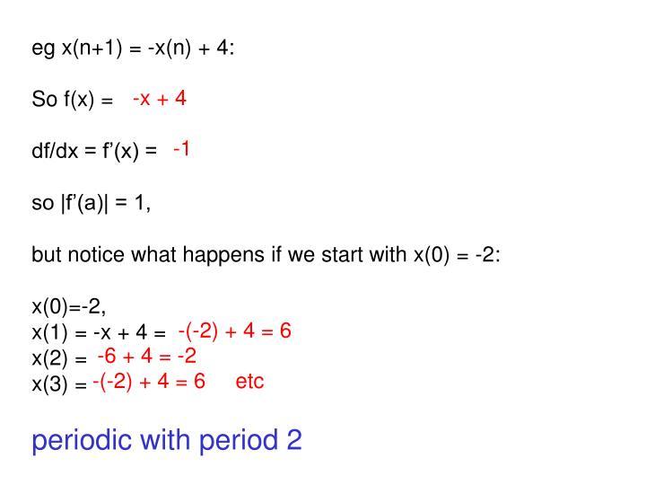 eg x(n+1) = -x(n) + 4: