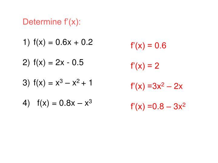 Determine f'(x):