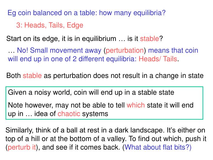 Eg coin balanced on a table: how many equilibria?