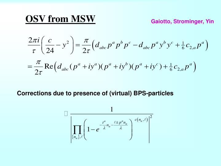 Corrections due to presence of (virtual) BPS-particles