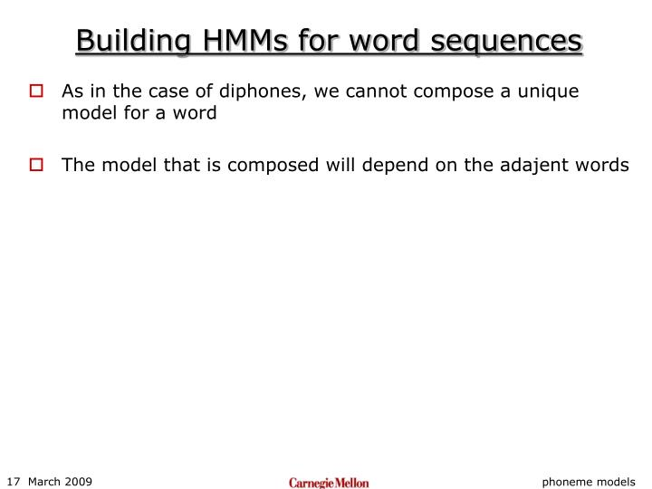 Building HMMs for word sequences