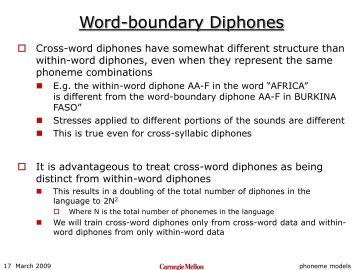 Word-boundary Diphones