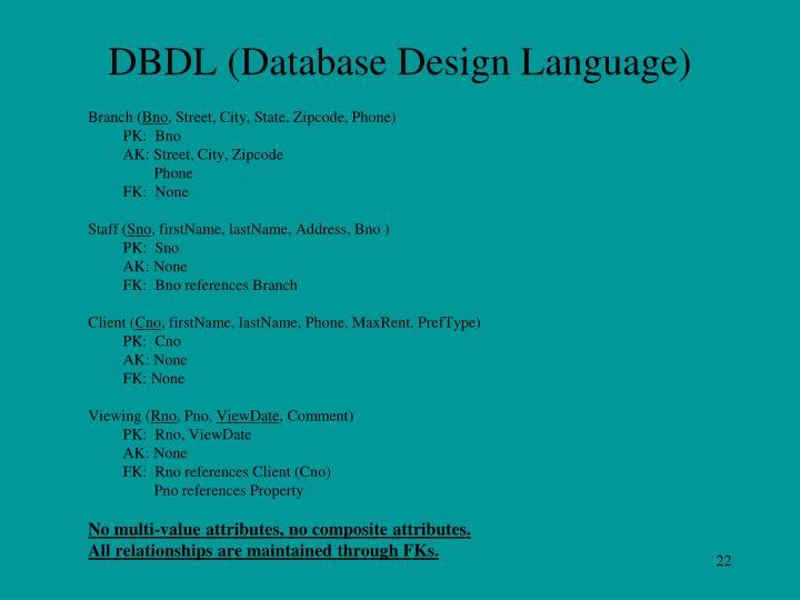 DBDL (Database Design Language)