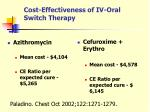 cost effectiveness of iv oral switch therapy