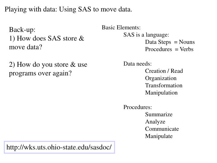 Playing with data: Using SAS to move data.