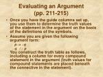 evaluating an argument pp 211 215