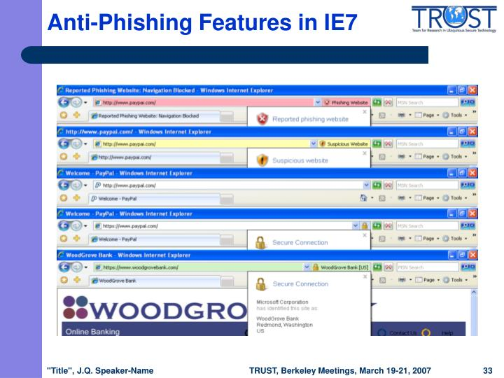 Anti-Phishing Features in IE7