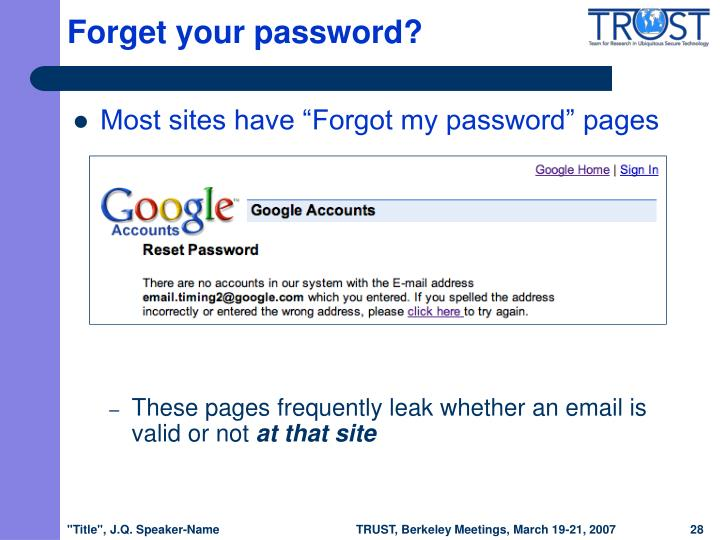 Forget your password?