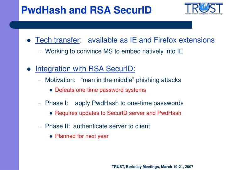 PwdHash and RSA SecurID