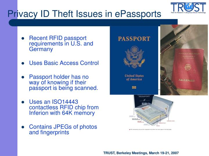 Recent RFID passport requirements in U.S. and Germany