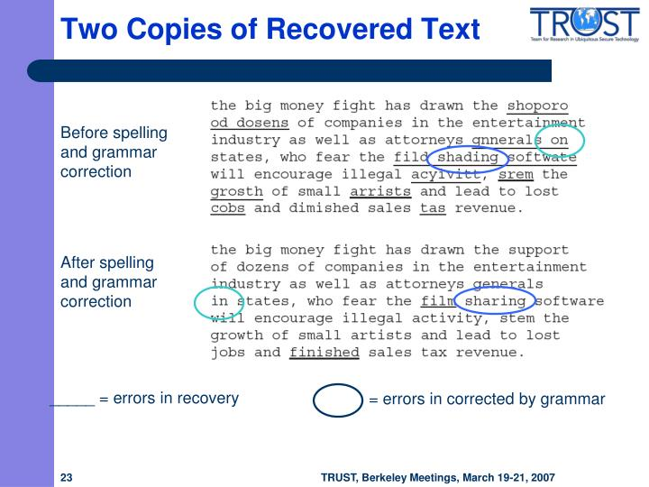 Two Copies of Recovered Text