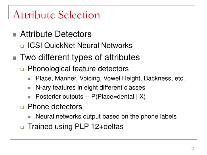 Attribute Selection