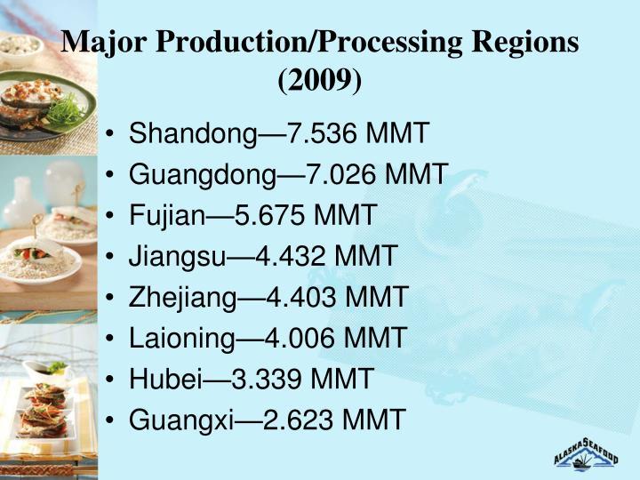 Major Production/Processing Regions (2009)