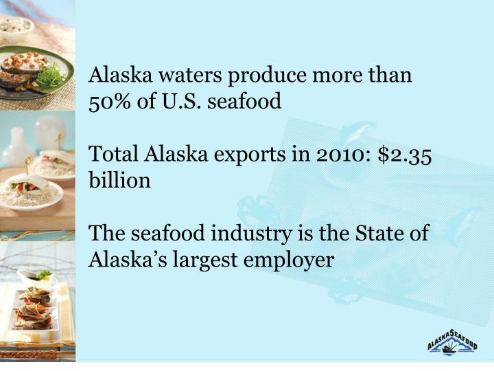 Alaska waters produce more than 50% of U.S. seafood