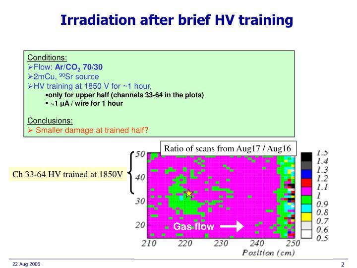 Irradiation after brief HV training
