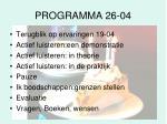 programma 26 04