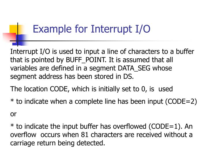 Example for Interrupt I/O