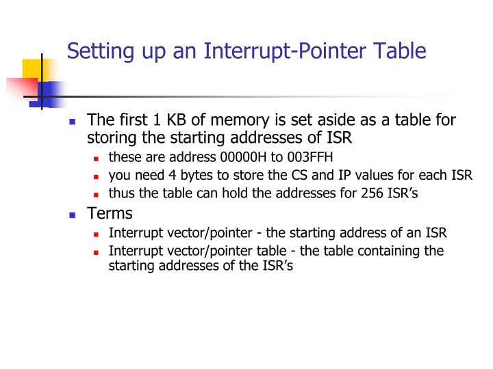 Setting up an Interrupt-Pointer Table