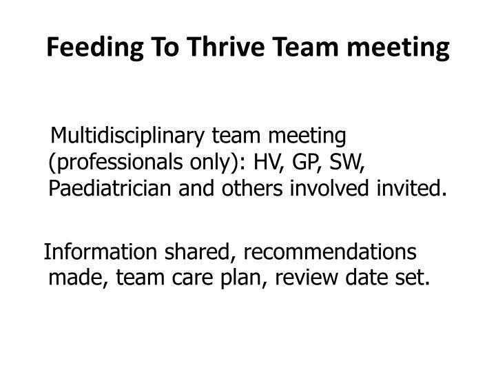 Feeding To Thrive Team meeting