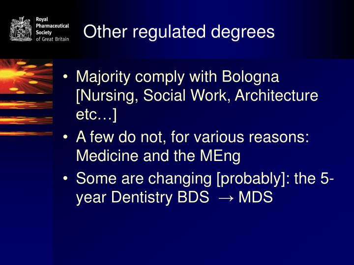 Other regulated degrees