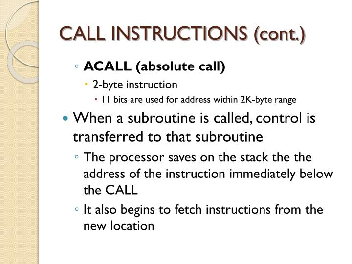 CALL INSTRUCTIONS (cont.)