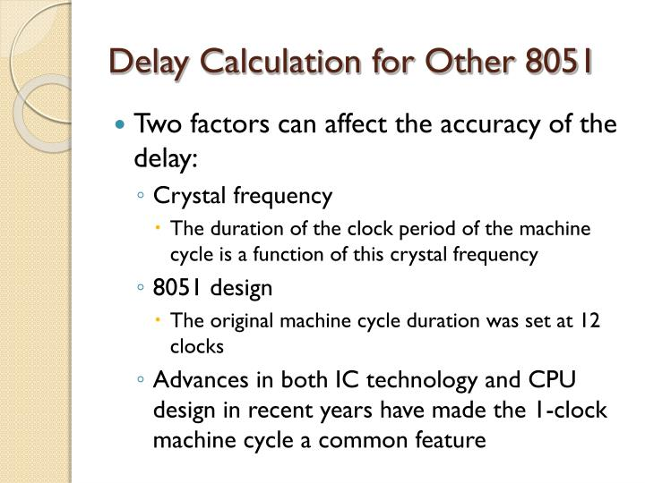 Delay Calculation for Other 8051