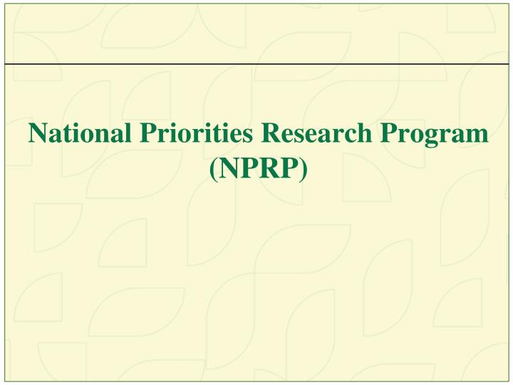 National Priorities Research Program