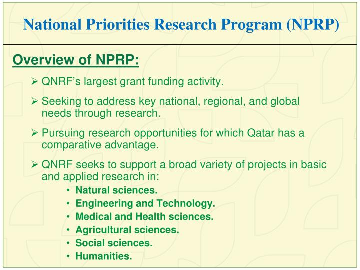 National Priorities Research Program (NPRP)